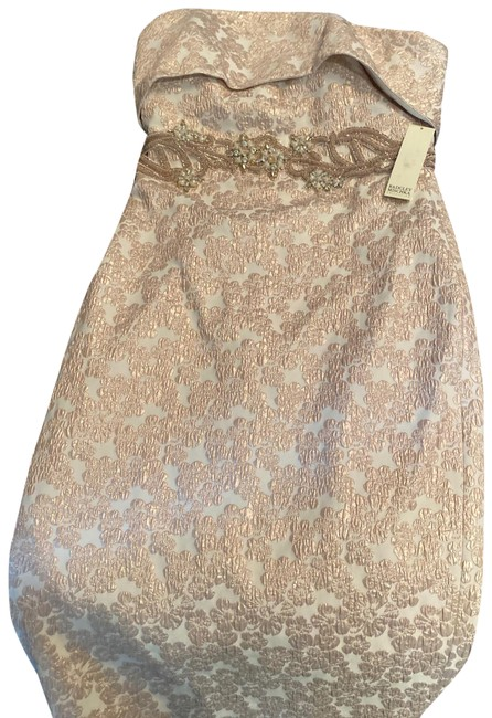 Item - Cream with Soft Pink Strapless Mid-length Cocktail Dress Size 4 (S)