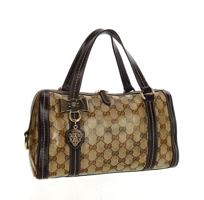 Item - Hysteria Boston Barrel Bandoulerie Brown Crystal Gg Monogram Canvas Leather Tote