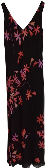 Item - Solid Black with Floral Print Summer Long Casual Maxi Dress Size 4 (S)