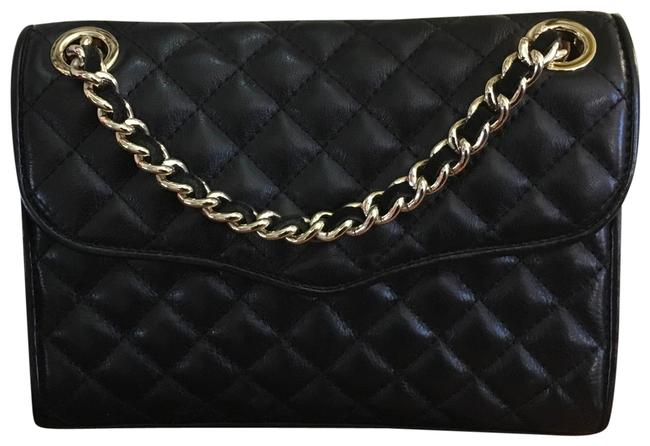 Item - Mini Quilted Affair Cross Body Black and Gold Leather Shoulder Bag