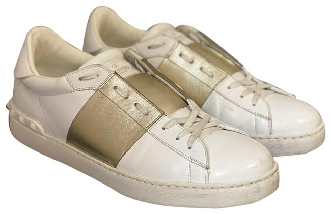Item - White/Gold Garavani Men`s Rockstud White/Gold Leather Eur45/Us12 Sneakers Size US 12 Regular (M, B)
