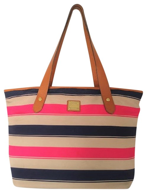 Item - Leather Trim Soft Shine Navy/Tan/Red Canvas Tote