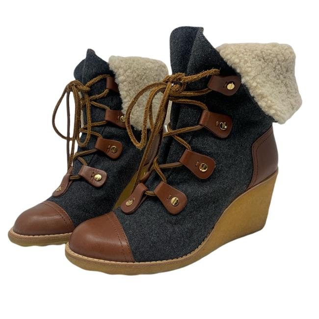 Item - Charcoal Gray and Brown Leather Marley Flannel Wedge Boots/Booties Size US 8 Regular (M, B)