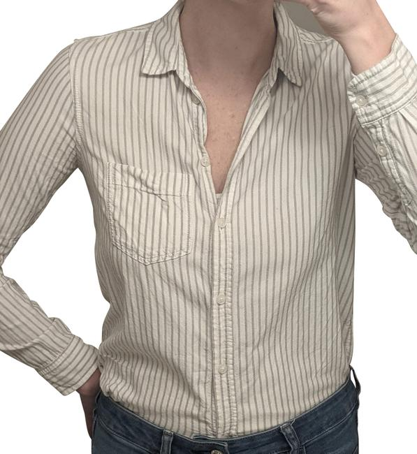 Item - White Gray Stripes Long Sleeve Button-down Top Size 4 (S)