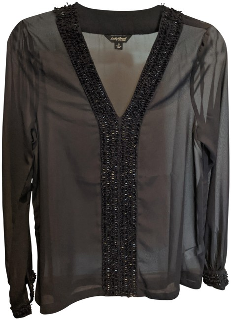 Item - Navy Blue Gauzy with Sequin Embellishment Blouse Size 6 (S)