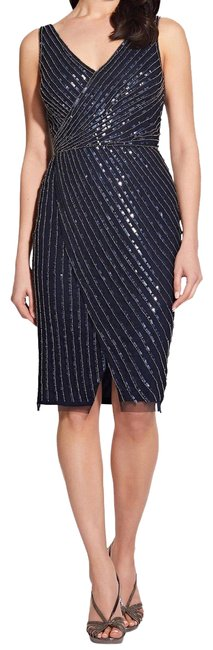 Item - Midnight Beaded Sequins Mid-length Cocktail Dress Size Petite 14 (L)
