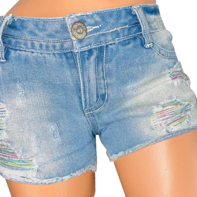 Item - Blue Light Wash Color Threaded Destroyed Accented Jean Shorts Size 6 (S, 28)