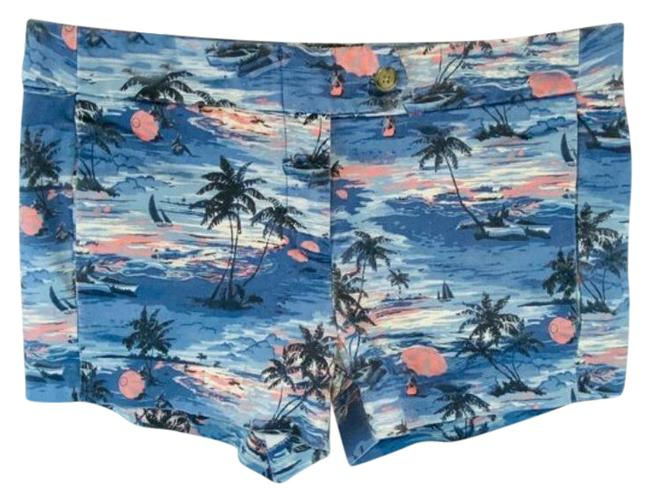 Item - Blue Pink Tropical Themed Palm Trees Sailboat Jean Shorts Size 4 (S, 27)