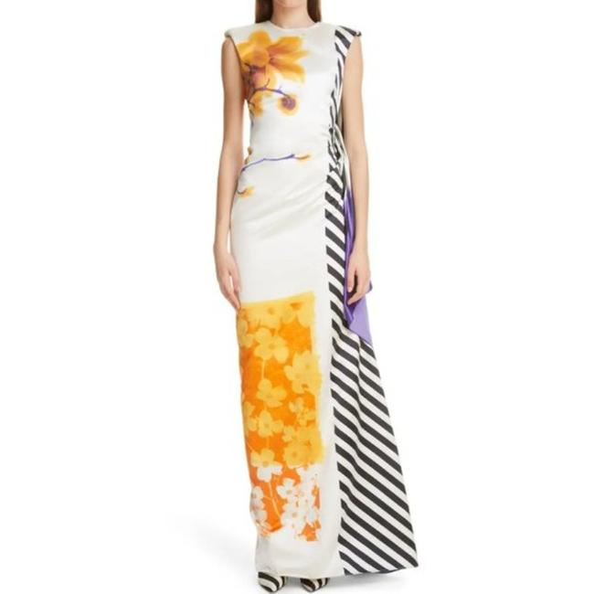 Item - White Hand Painted Striped Gown Long Formal Dress Size 2 (XS)