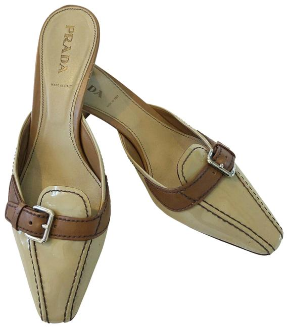 Item - Brown Tan Patent Slip On Mules/Slides Size EU 39.5 (Approx. US 9.5) Regular (M, B)