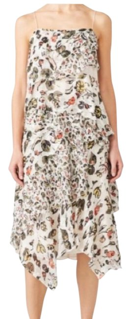 Item - White Grey Floral Silk Short Casual Dress Size 14 (L)