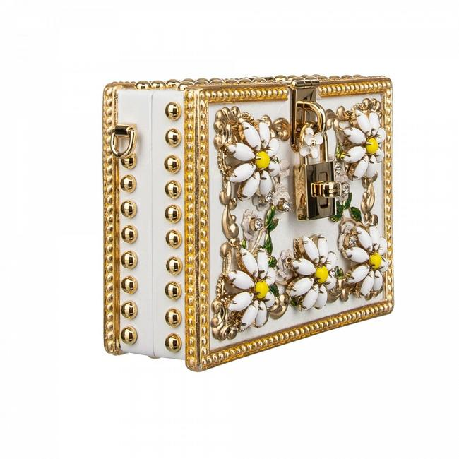 Item - Box D & G Daisy Gold 2 Way White Wood Leather Shoulder Bag
