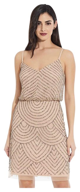 Item - Taupe Pink Sequin Blouson In Cocktail Dress Size 2 (XS)
