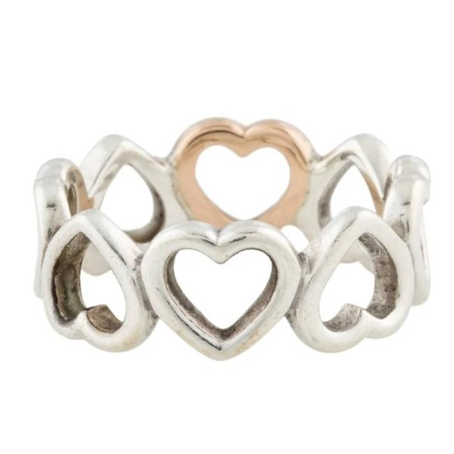 Item - Gold Two-tone Open Heart Band Ring