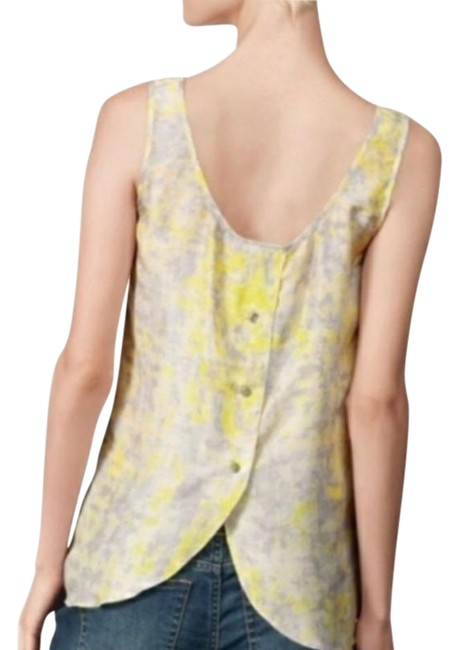 Item - Yellow and Grey Whisperwood Button Back Watercolor Silk Tank Top/Cami Size 2 (XS)