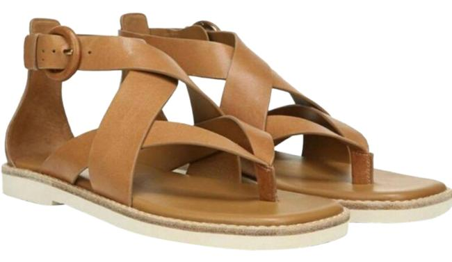 Item - Brown Tan Morris Strappy Flat Leather Sandals Size US 6 Regular (M, B)