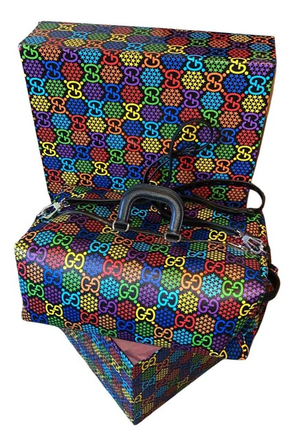 Item - Duffle Gg Psychedelic Print Black & Multicolor Leather Weekend/Travel Bag