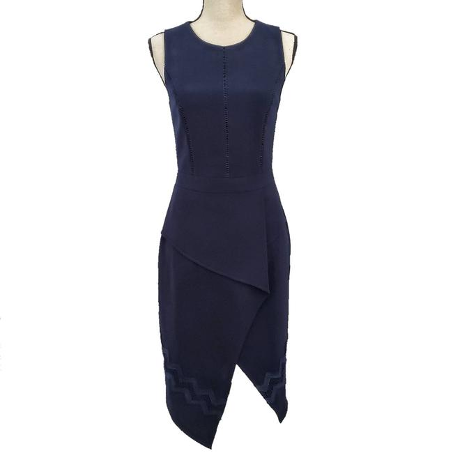 Item - Blue Nwot Navy Asymmetrical Sheath Work/Office Dress Size 4 (S)