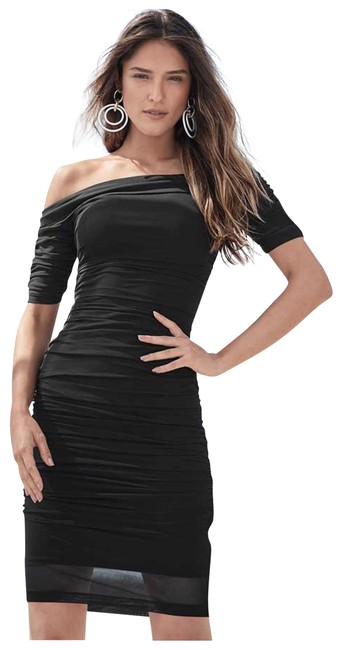 Item - Black XS Mesh Bodycon Ruched Midi Mid-length Night Out Dress Size 2 (XS)