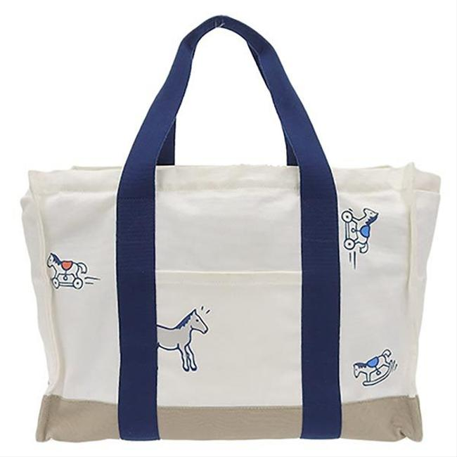Item - Adada Mother's Leather Blue Marine / White Canvas Tote