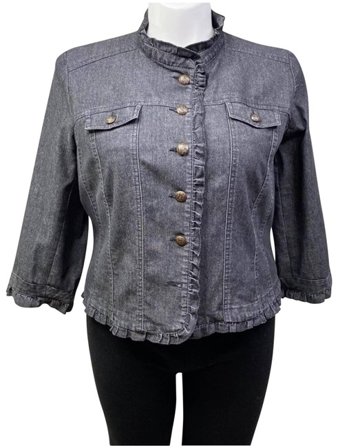 Item - Black XL Chambray Ruffle Jacket Size 16 (XL, Plus 0x)