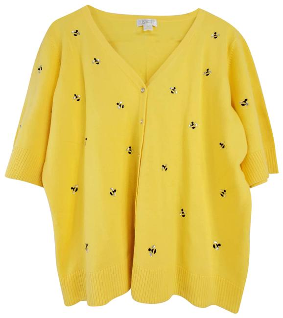 Item - Yellow Bumble Bee Button Front Short Sleeve Cardigan Size 16 (XL, Plus 0x)