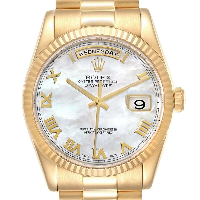 Item - Mother Of Pearl Box President Day Date Yellow Gold Mop Dial Mens 118238 Watch