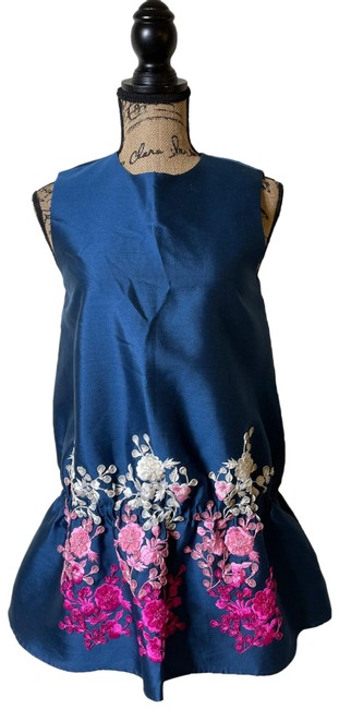 Item - Blue Pink White and Fuchsia Embroidered Satin Tank Short Casual Dress Size 6 (S)