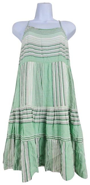 Item - Green Boho Tiered Stripe Crew Neck A-line Above Short Casual Dress Size 8 (M)