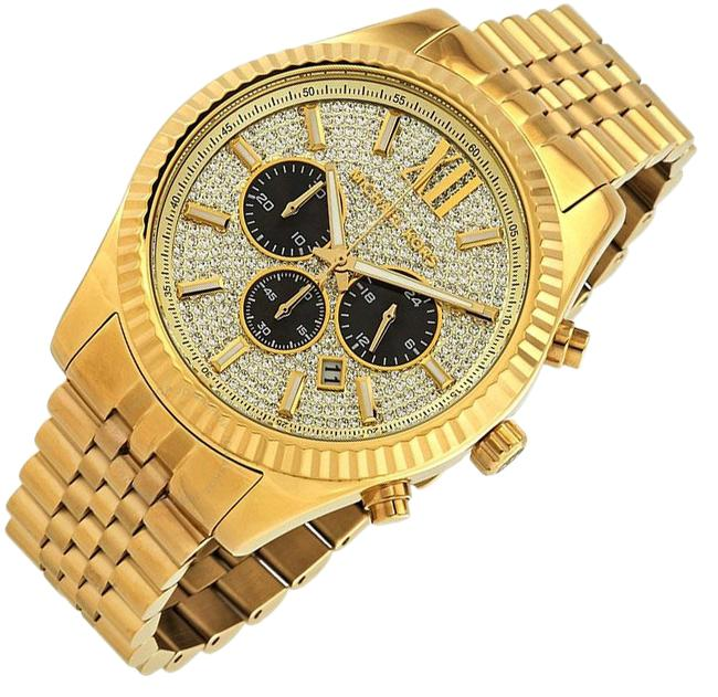 Item - Gold Lexington Stainless Steel Pave Crystal Chronograph Mk8494 Watch