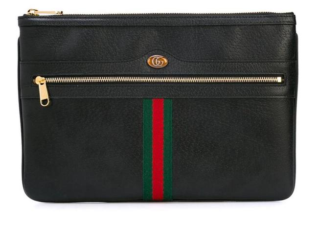 Item - New Web Zip Pouch Ophidia Black Red Green Leather Clutch