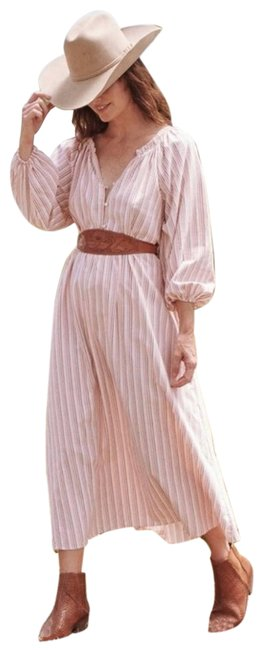 Item - White Red Derby Stripe Long Sleeve New with Tag Mid-length Casual Maxi Dress Size 6 (S)