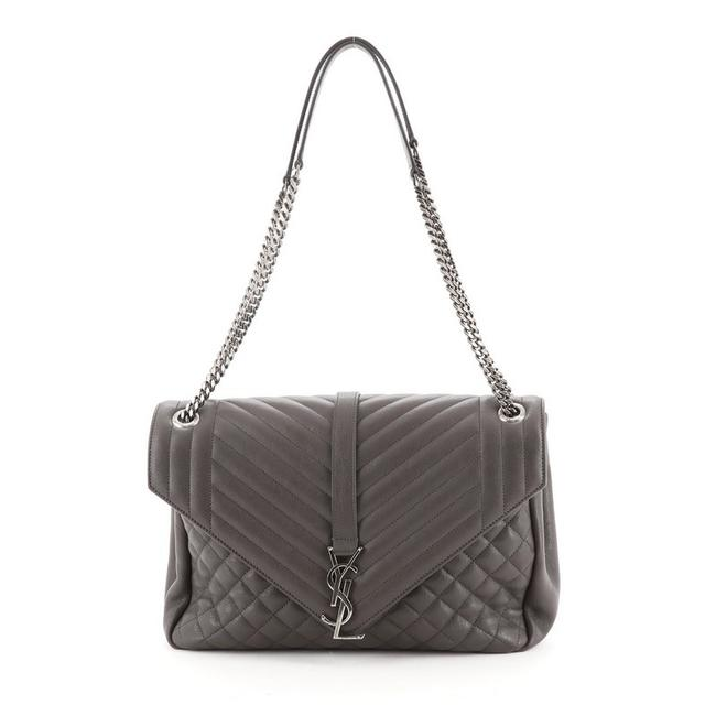 Item - Classic Monogram Slouchy Envelope Quilted Large Gray Leather Satchel