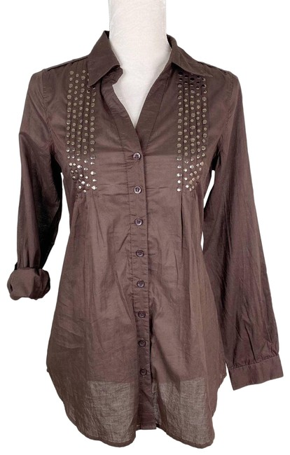 Item - Brown M Coffee Button Down Gold Studded New Blouse Size 8 (M)