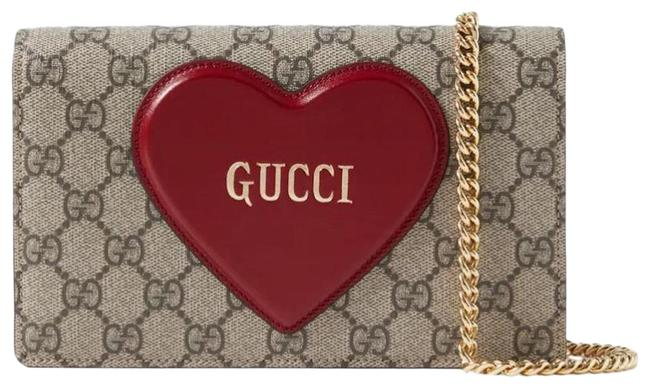 Item - Logo Canvas Heart Glossed Leather Beige Red Soft Gg Supreme Cross Body Bag
