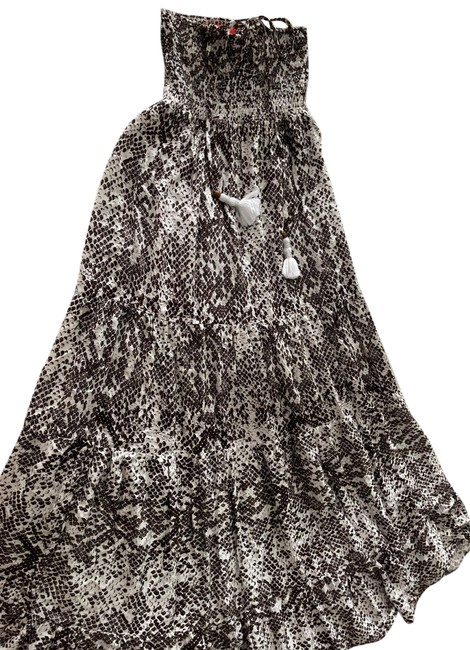 Item - Brown and White Snakeskin Strapless Long Casual Maxi Dress Size 4 (S)