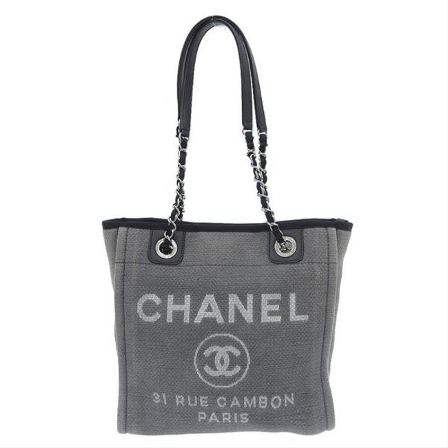Item - Deauville Bag Coco Mark 16s Leather Gray Canvas Tote