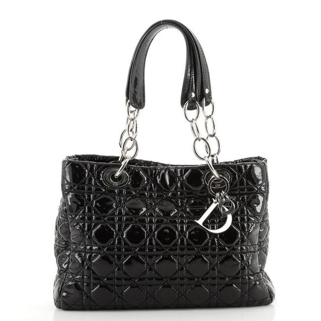 Item - Soft Chain Cannage Quilt Small Black Patent Leather Tote