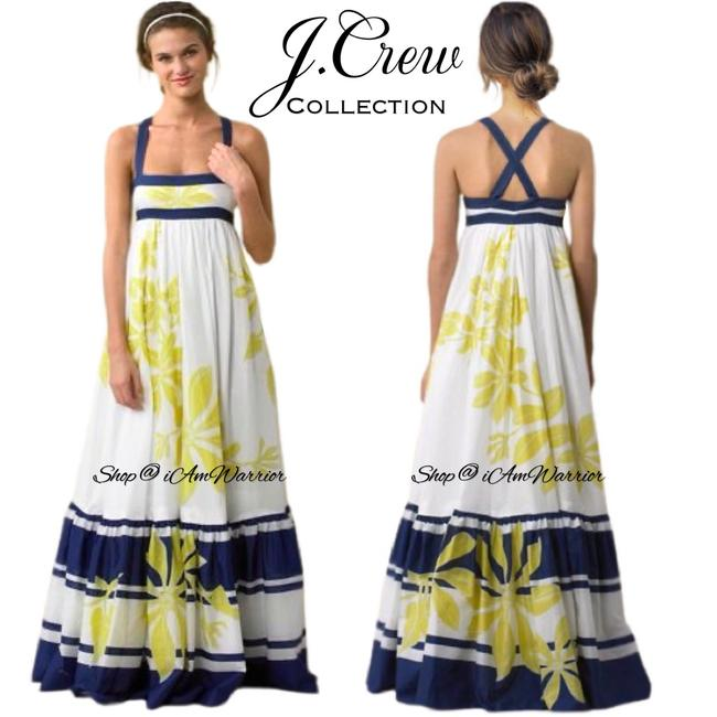 Item - White Blue Yellow Collection Talitha Floral Striped Gown Long Casual Maxi Dress Size 4 (S)