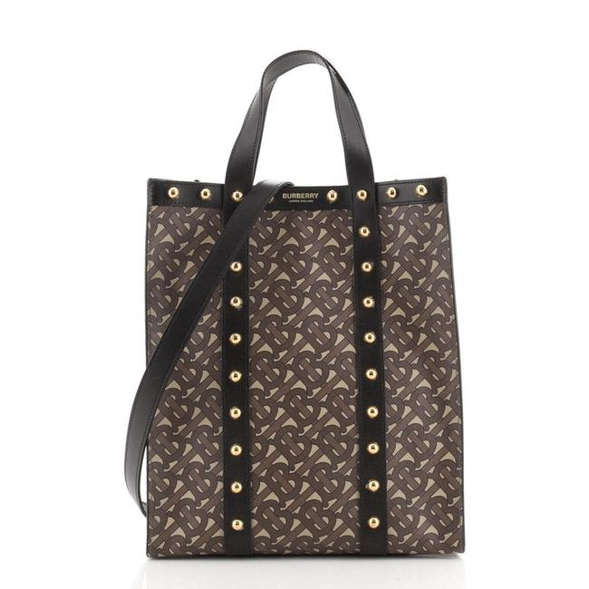 Item - Portrait Monogram Print with Studded Small Brown Canvas Coated Leather Tote