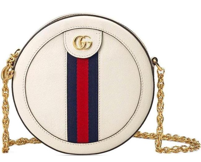 Item - Ophidia Shoulder New Web Round Purse White Leather Cross Body Bag