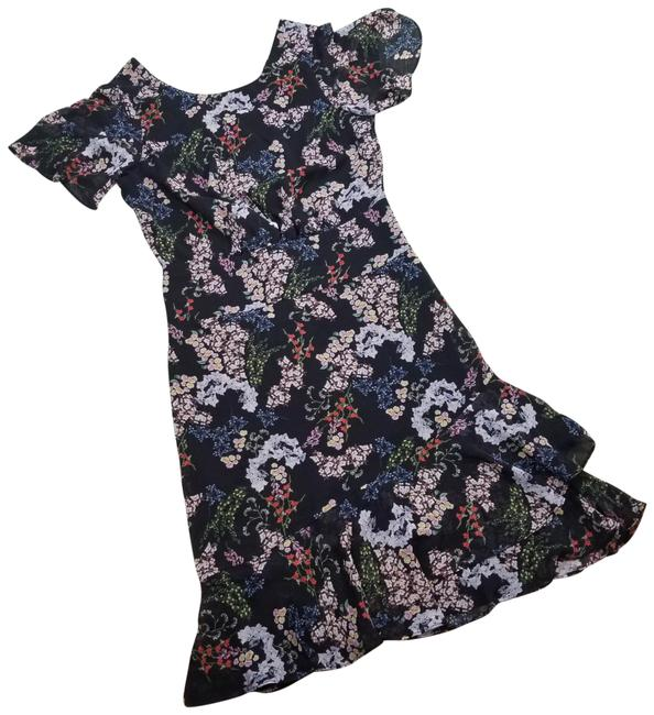 Item - Black Floral Print Flutter Sleeves Midi Mid-length Night Out Dress Size 8 (M)