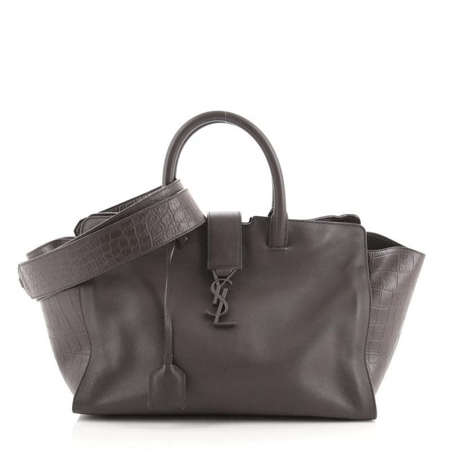 Item - Monogram Cabas Downtown With Crocodile Embossed Small Brown Leather Satchel