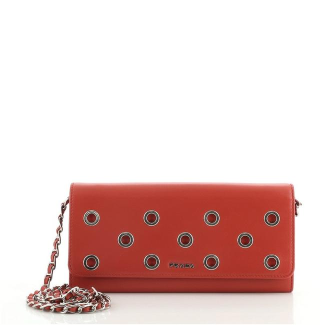 Item - Wallet on Chain Grommet Embellished Red Leather Cross Body Bag