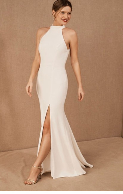 Item - White Crepe Gown Casual Wedding Dress Size 2 (XS)