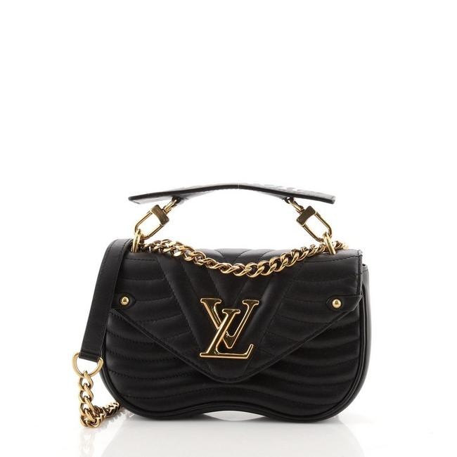 Item - New Wave Chain Quilted Pm Black Leather Cross Body Bag