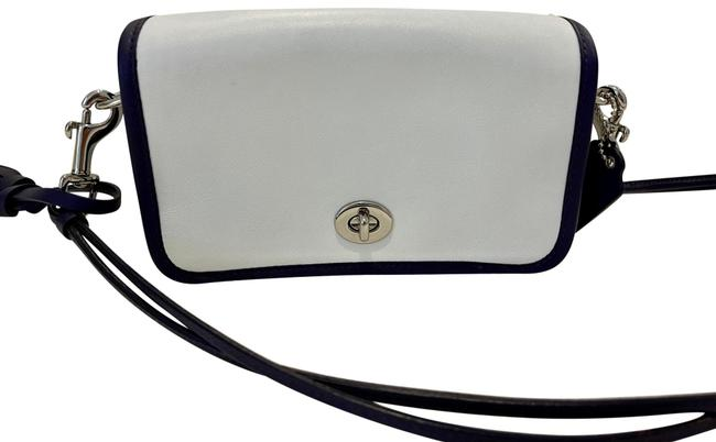 Item - Clutch Penny Legacy Archival 2 Tone Soft Shoulder Or White and Purple Trim and Strap Leather Cross Body Bag