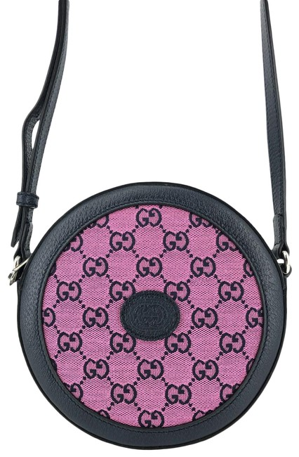Item - Multicolor and Blue Gg Web Circle Pink Canvas Cross Body Bag