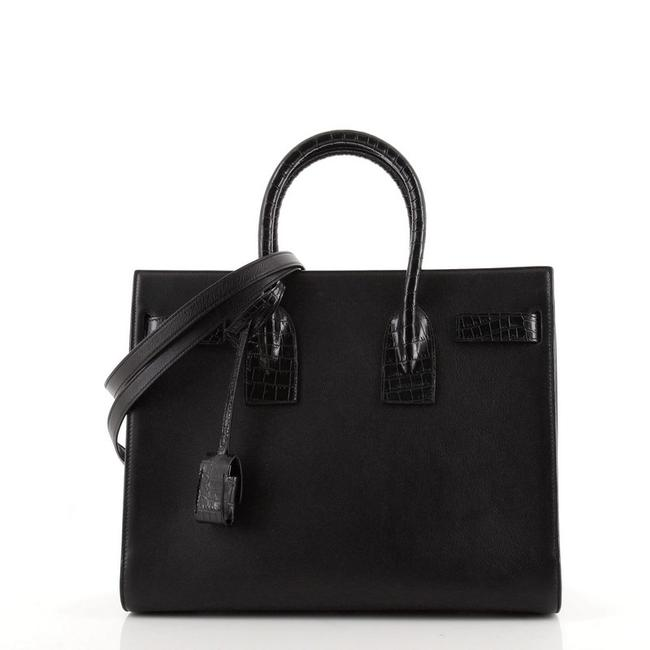 Item - Sac de Jour Nm with Crocodile Embossed Detail Small Black Leather Cross Body Bag