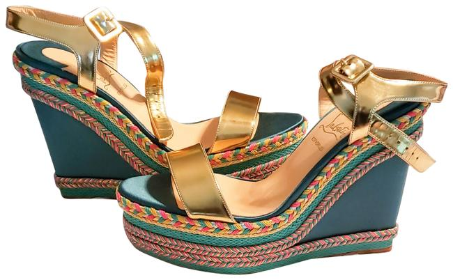 Item - Turquoise and Gold Duplice 120 Specchio/Satin Wedges Size EU 39 (Approx. US 9) Regular (M, B)